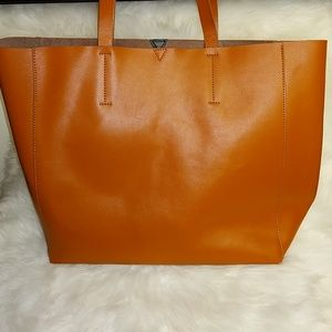 Real Leather Large Tote with Matching Pouch